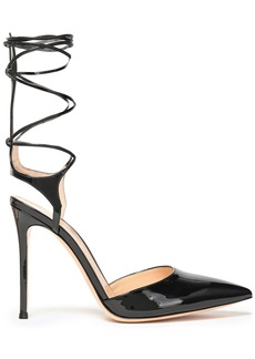 Gianvito Rossi Woman Lace-up Patent-leather Pumps Black