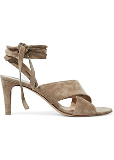 Gianvito Rossi Woman Lace-up Suede Sandals Taupe