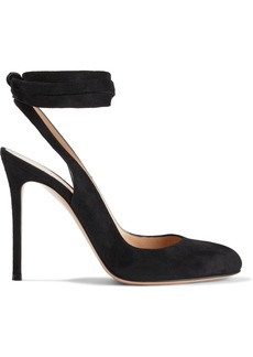 Gianvito Rossi Woman Lace-up Suede Slingback Pumps Black