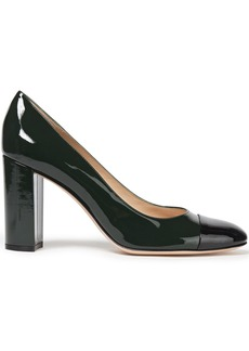 Gianvito Rossi Woman Langley 85 Two-tone Patent-leather Pumps Dark Green