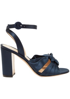 Gianvito Rossi Woman Loren 85 Knotted Satin Sandals Midnight Blue