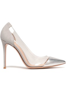 Gianvito Rossi Woman Metallic Leather Suede And Pvc Pumps Silver