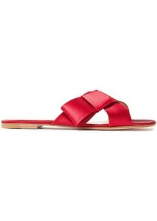 Gianvito Rossi Woman Obi Bow-embellished Satin Slides Claret