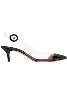 Gianvito Rossi Woman 55 Patent-leather And Pvc Slingback Pumps Black