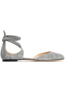 Gianvito Rossi Woman Pina Lace-up Suede Ballet Flats Gray