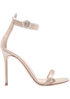 Gianvito Rossi Woman Portofino 100 Crystal-embellished Satin Sandals Neutral