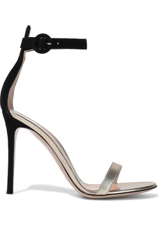Gianvito Rossi Woman Portofino 105 Suede And Metallic Leather Sandals Gold