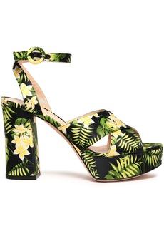 Gianvito Rossi Woman Roxy Floral-print Satin Platform Sandals Leaf Green