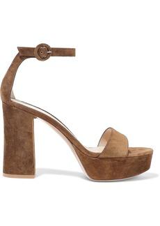 Gianvito Rossi Woman Suede Platform Sandals Light Brown