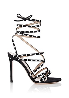 Gianvito Rossi Women's Embellished Suede Ankle-Wrap Sandals