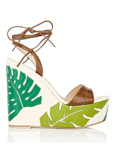 Gianvito Rossi Women's Grenada Leather & Canvas Wedge Sandals