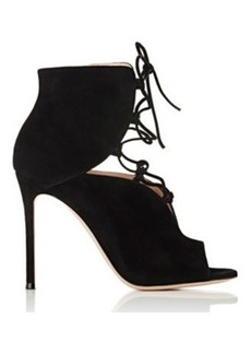 Gianvito Rossi Women's Lace-Up Peep-Toe Booties