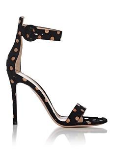 Gianvito Rossi Women's Portofino Polka Dot Suede Ankle-Strap Sandals