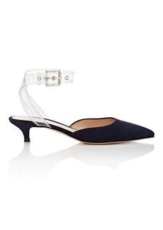 Gianvito Rossi Women's PVC-Ankle-Wrap Suede Pumps