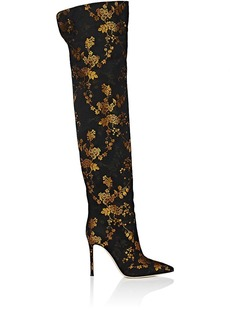 Gianvito Rossi Women's Rennes Kyoto-Floral-Print Jacquard Satin Cuissard Boots