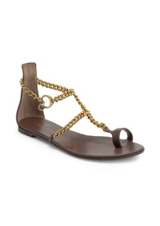 Gianvito Rossi Leather Chain Toe-Loop Flat Sandals