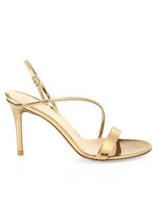 Gianvito Rossi Manhattan Crystal-Embellished Metallic Leather Slingback Sandals