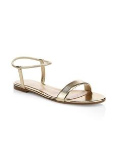 Gianvito Rossi Jaime Metallic Leather Flat Sandals