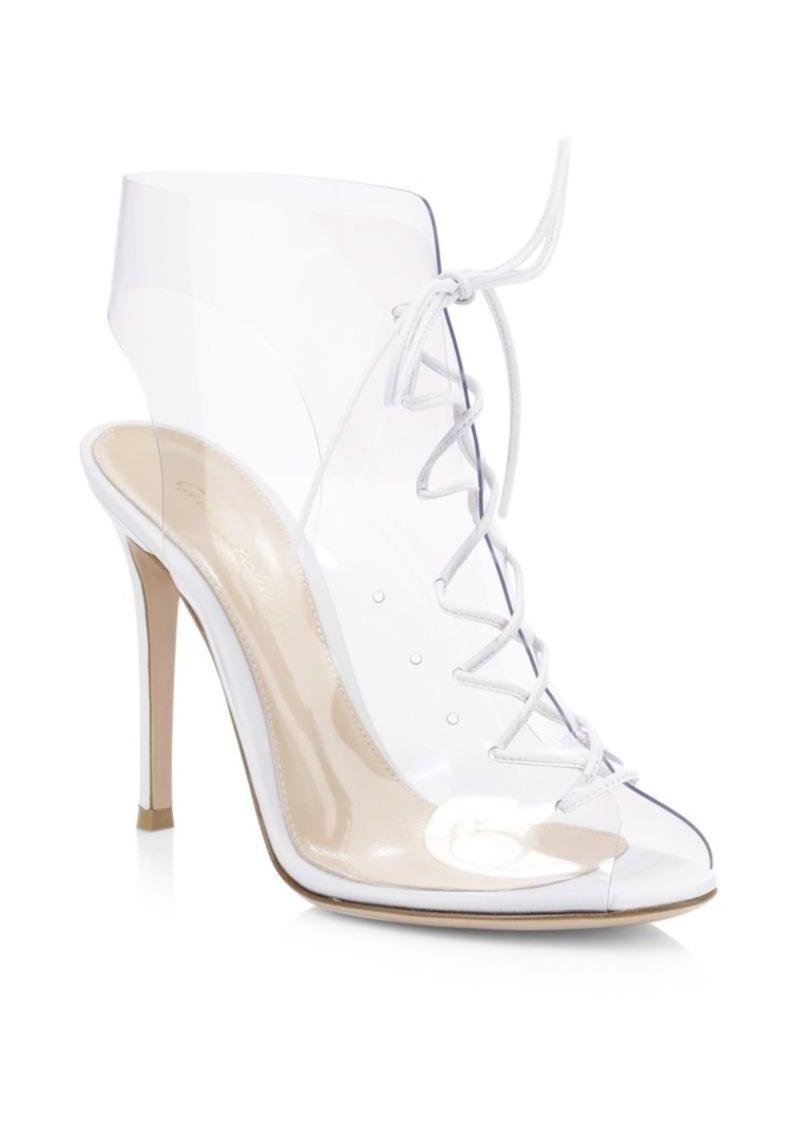 Plexi Lace-Up High Heel Booties