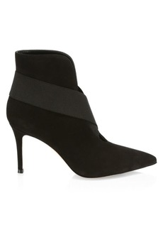 Gianvito Rossi Crisscross Elastic Suede Ankle Boots
