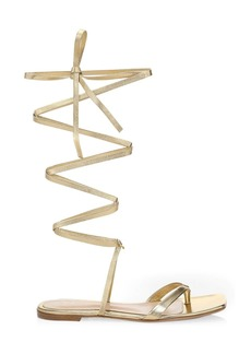 Gianvito Rossi Ribbon Metallic Leather Knee-High Gladiator Flat Sandals