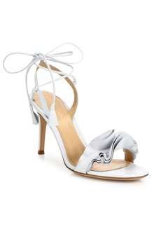 Gianvito Rossi Ruffle Leather Ankle-Wrap Sandals