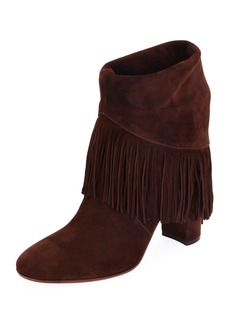 Gianvito Rossi Suede Fringe Pull-On Booties