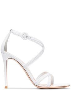 Gianvito Rossi white 105 frill leather sandals