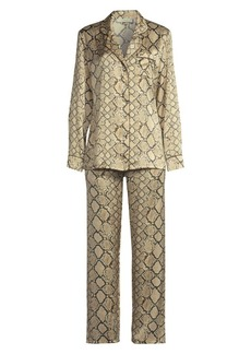 Ginia Fine Finishes Two-Piece Print Silk Pajama Set