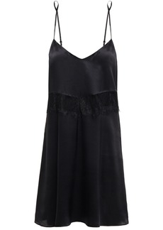 Ginia Woman Corded Lace-trimmed Silk-satin Chemise Black
