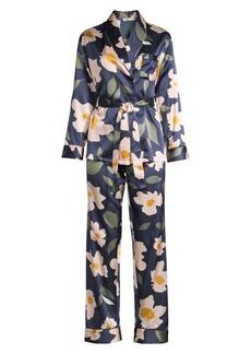 Ginia Modern Floran Print Two-Piece Pajama Set