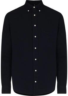Gitman Brothers overdyed seersucker buttoned shirt