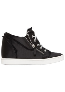 Giuseppe Zanotti 80mm Fringed Satin Wedged Sneakers