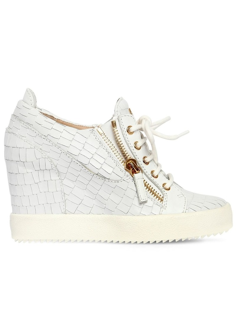 Giuseppe Zanotti 85mm Croc Leather Wedged Sneakers