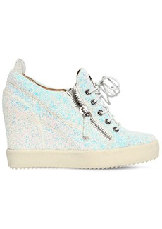 Giuseppe Zanotti 85mm Glitter Zip Up Wedged Sneakers