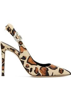Giuseppe Zanotti bejewelled buckle leopard pumps