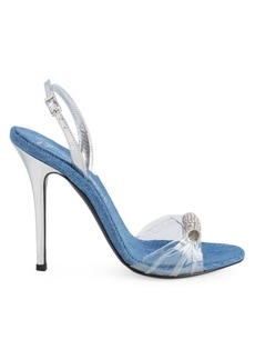 Giuseppe Zanotti Clear Denim Slingback Stiletto Sandals