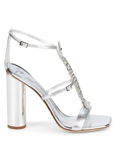 Giuseppe Zanotti Column Fish Crystal-Embellished Leather Heeled Sandals