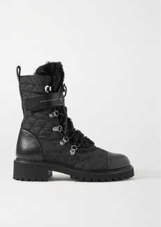 Giuseppe Zanotti Cornelia Leather-trimmed Shearling And Quilted Shell Ankle Boots