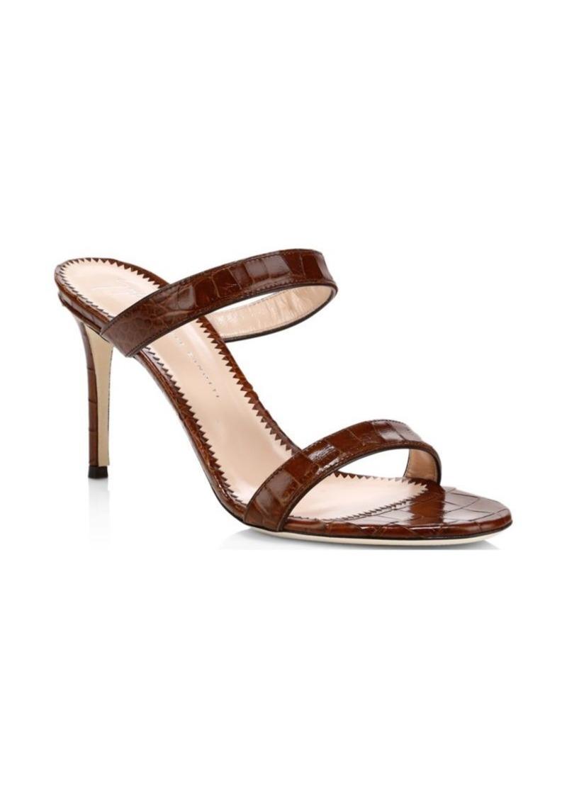 Giuseppe Zanotti Crocodile Print Double Strap Sandals