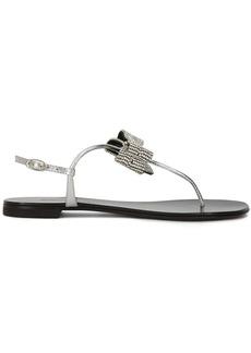 Giuseppe Zanotti crystal-bow metallic flat sandals