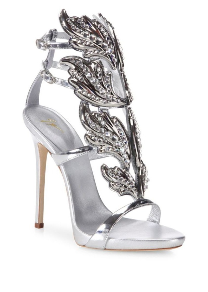 5a27382d19a Crystal-Embellished Metallic Leather Wing Sandals