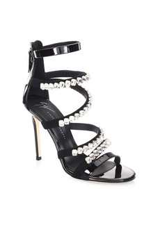 Giuseppe Zanotti Crystal-Embellished Patent Leather Sandals