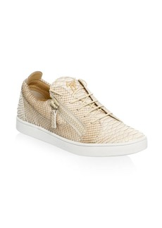 Embossed Leather Low-Top Sneakers