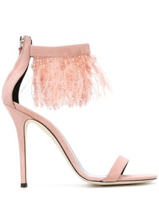 Giuseppe Zanotti feather and bead trim sandals