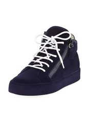 Giuseppe Zanotti Flocked Suede Mid-Top Sneakers