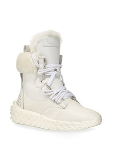 Giuseppe Zanotti Fur-Lined High-Top Sneakers  White