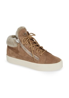 Giuseppe Zanotti Giuseppe May London Mid-Rise Lace-Up Genuine Shearling Sneaker (Women)