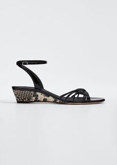 Giuseppe Zanotti 30mm Ricoperto Snake Wedge Sandals
