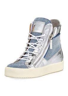Giuseppe Zanotti Beaded Metallic High-Top Sneaker
